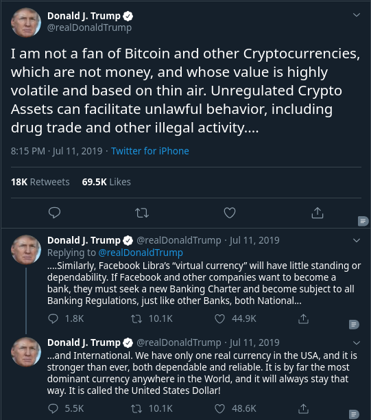 POTUS45 cryptocurrency stance