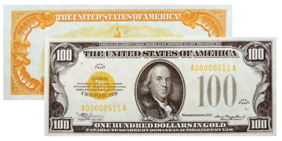 Reproduction $100 1934 Gold US Paper Money Currency