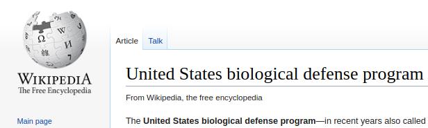 Wikipedia - U.S. biological defense program