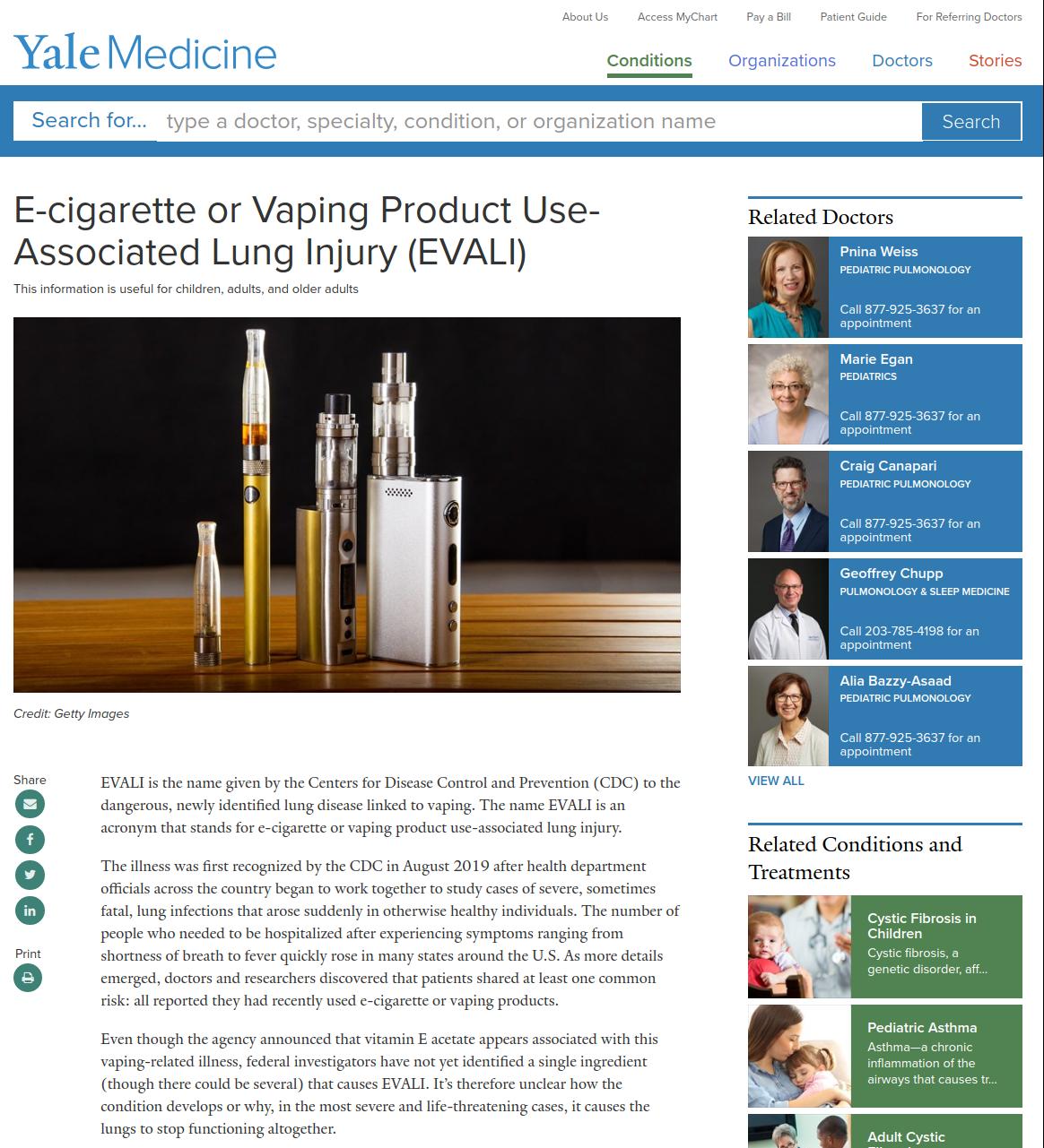 Yale Medical On EVALI