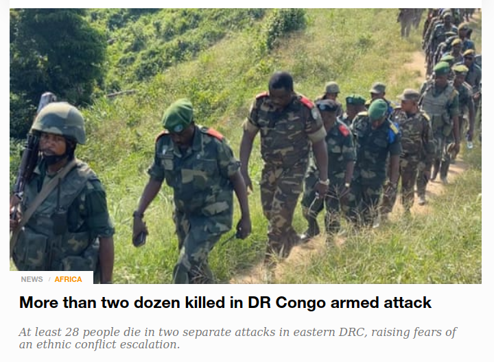 More than two dozen killed in DR Congo armed attack