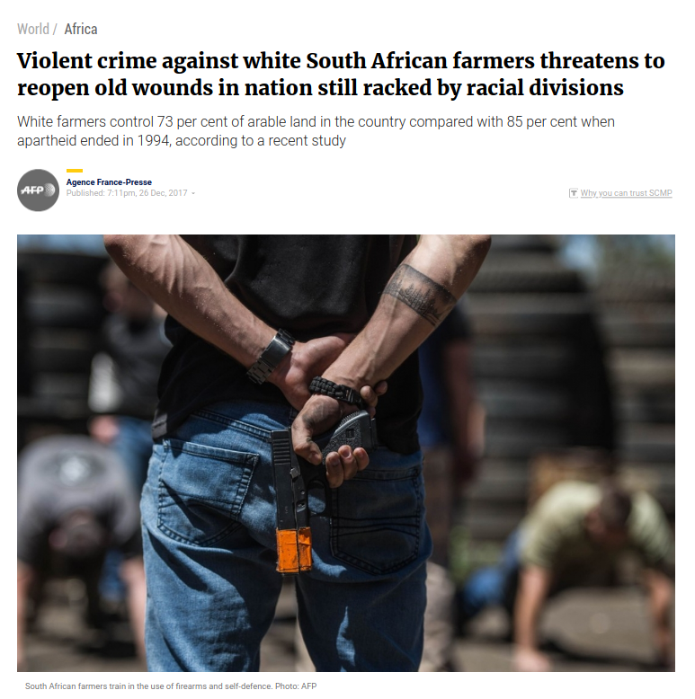 Violent crime against white SA farmers